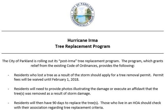 Hurricane Irma Tree Replacement Program