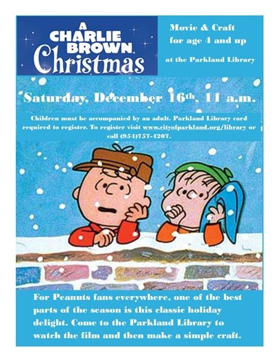 A Charlie Brown Christmas at the Parkland Library