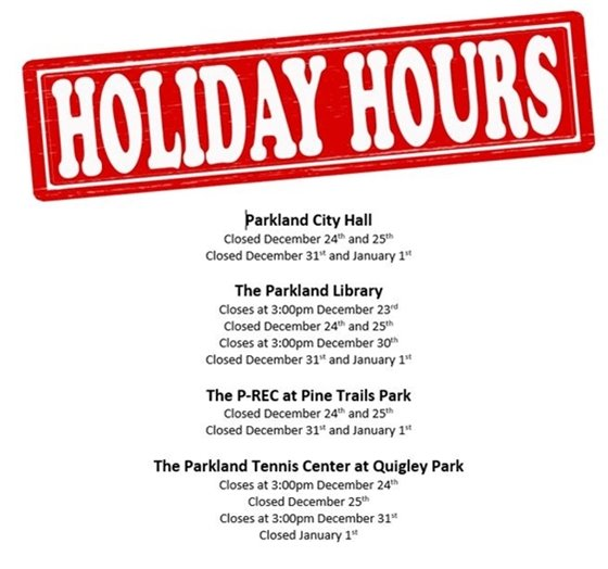 Holiday Hours of Operation
