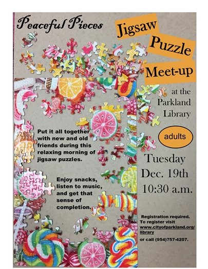 Jigsaw Puzzling at the Parkland Library
