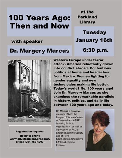 Dr. Margery Marcus at the Parkland Library