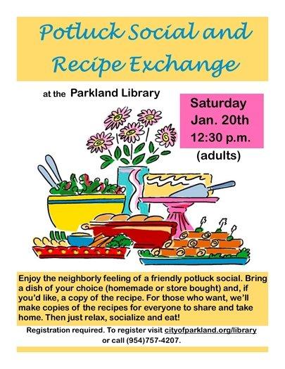 Potluck Social and Recipe Exchange